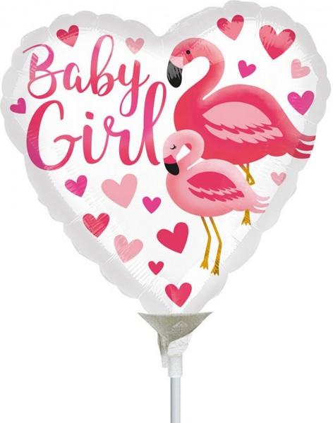 "Anagram Folienballon Flamingo Baby Girl 23cm/9"" luftgefüllt inkl. Stab"