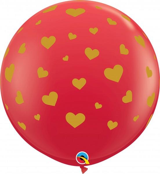 Qualatex Latexballon Standard Random Hearts Red 90cm/3' 2 Stück