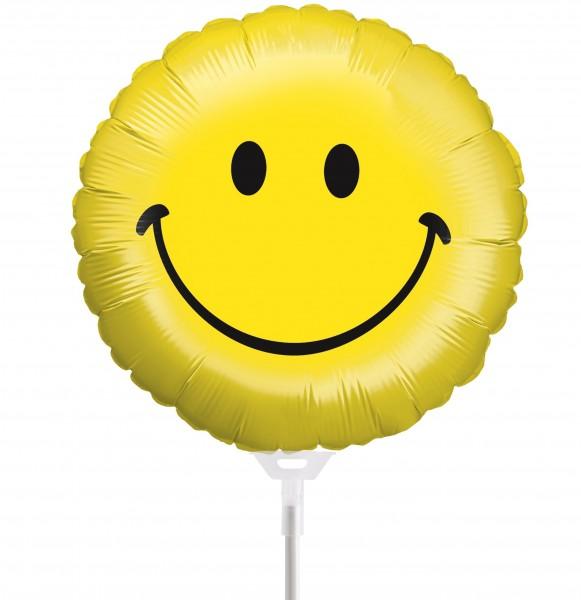"Betallic Folienballon Smiley 23cm/9"" luftgefüllt inkl. Stab"