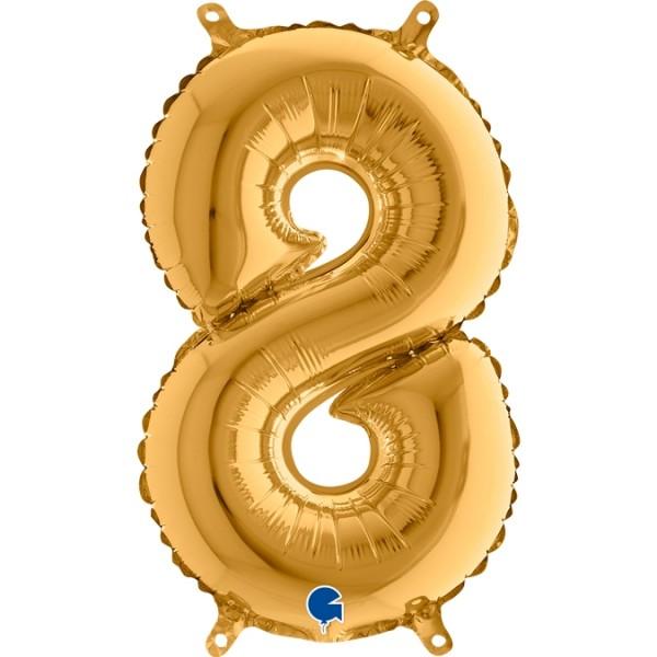 "Grabo Folienballon Gold 36cm/14"" Zahl 8"