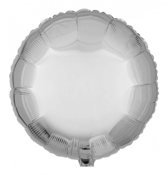 Folienballon Rund, Metallic Silber, 45cm Ø