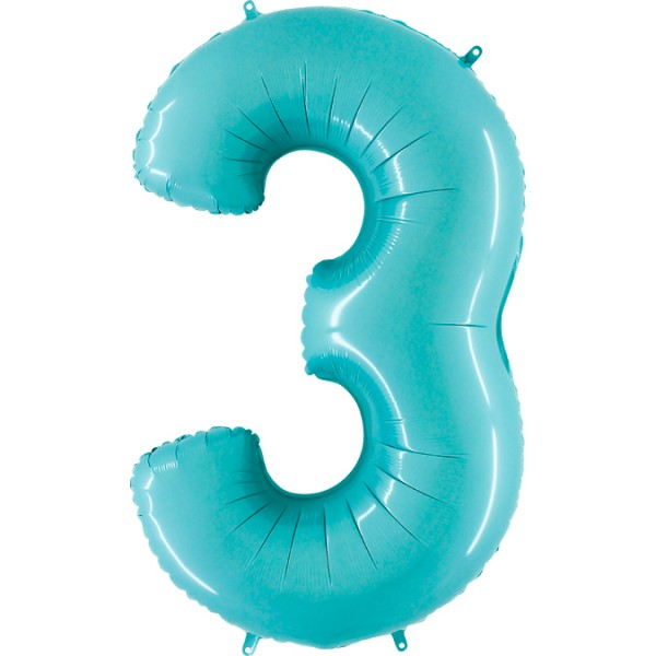 "Grabo Folienballon Zahl 3 Pastel Blue 100cm/40"""
