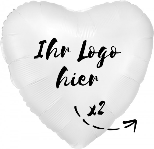 """Folien-Werbeballon Herz Satin Luxe White 45cm/18"""" 2-Seitig bedruckt"""
