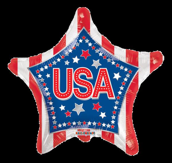 "Kaleidoscope Folienballon USA Sterne & Streifen K-Light 43cm/17"""
