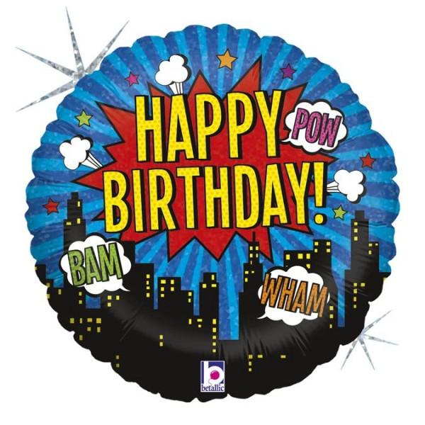 "Betallic Folienballon Super Hero Birthday Holographic 45cm/18"""