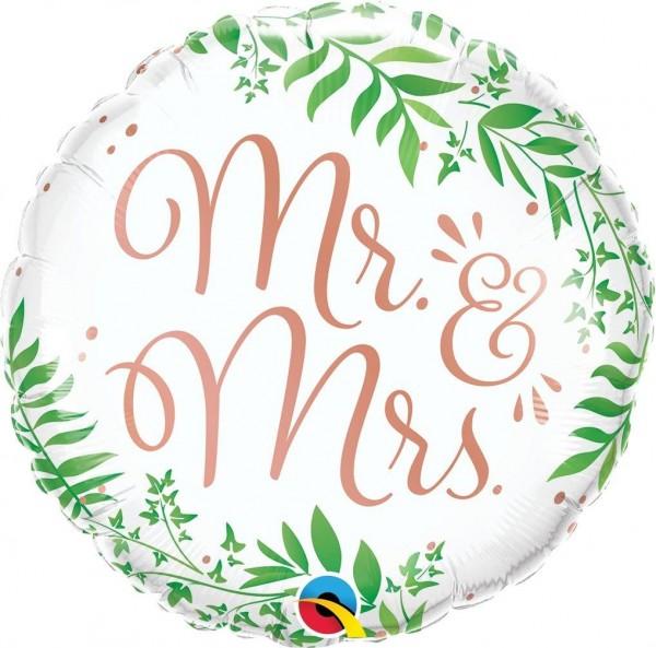 "Qualatex Folienballon Mr & Mrs Elegant Greenery 45cm/18"""