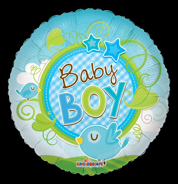 "Kaleidoscope Folienballon ""Baby Boy - Blauer Vogel"" 45cm/18"""