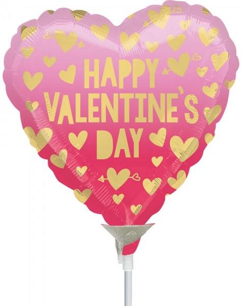 """Anagram Folienballon Happy Valentine's Day 23cm/9"""" Pink Ombre luftgefüllt mit Stab"""