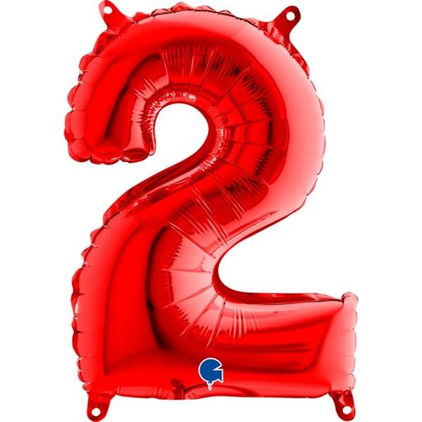 "Grabo Folienballon Zahl 2 Red 36cm/14"""