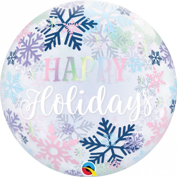 "Qualatex Bubbles Happy Holiday Snowflakes 55cm/22"""