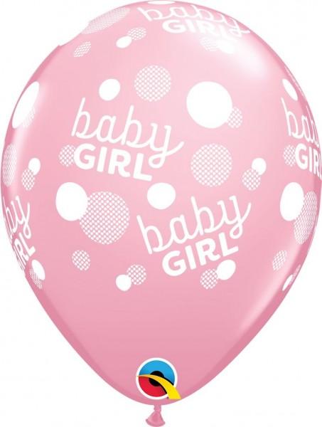 "Qualatex Latexballon Baby Girl Dots-A-Round Pink 28cm/11"" 6 Stück"