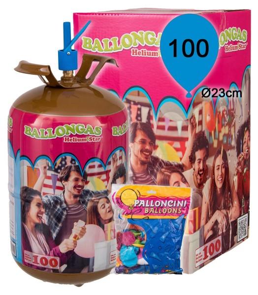 HeliumStar Ballongas Set inkl. 100 bunte Latexballons (Ø 23cm)