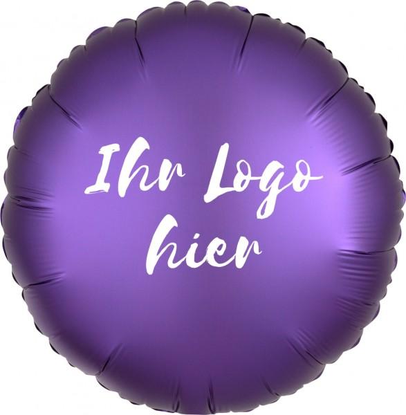 """Folien-Werbeballon Rund Satin Luxe Purple Royale 45cm/18"""" 1-Seitig bedruckt"""