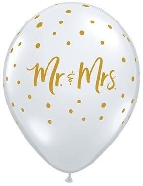 """Qualatex Latexballon Mr. & Mrs. Dots 28cm/11"""" 25 Stück"""