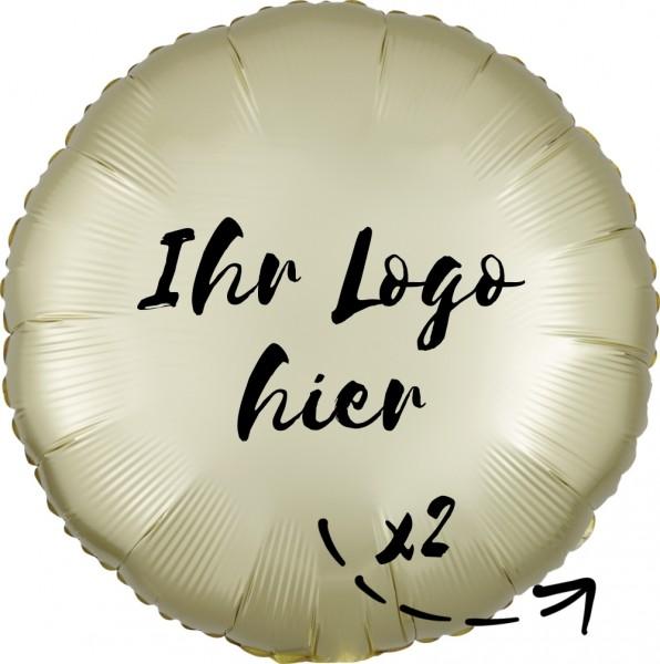 """Folien-Werbeballon Rund Satin Luxe Pastel Yellow 45cm/18"""" 2-Seitig bedruckt"""