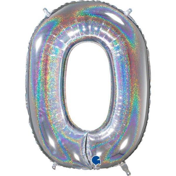 """Grabo Folienballon Zahl 0 Glitter Holographic Silver 66cm/26"""""""