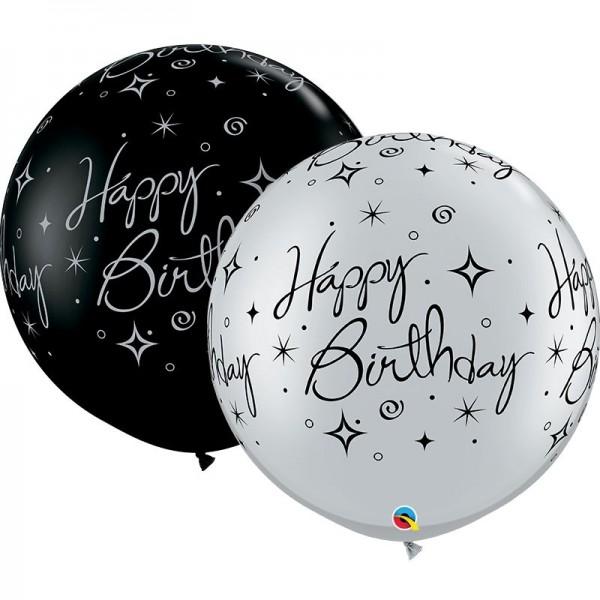 "Qualatex Latexballon Birthday Sparkle Swirls Fashion Onyx Black & Metallic Silver 90cm/36"" 2 Stück"