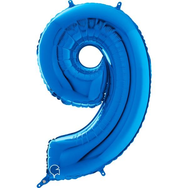 "Grabo Folienballon Zahl 9 Blue 66cm/26"""
