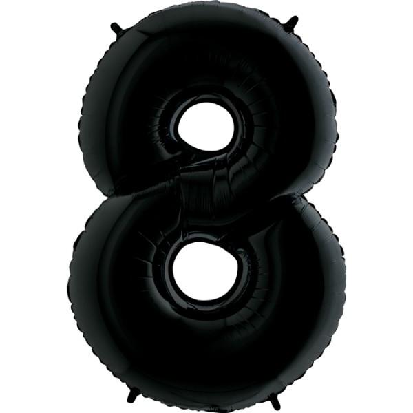 "Grabo Folienballon Zahl 8 Black 100cm/40"""