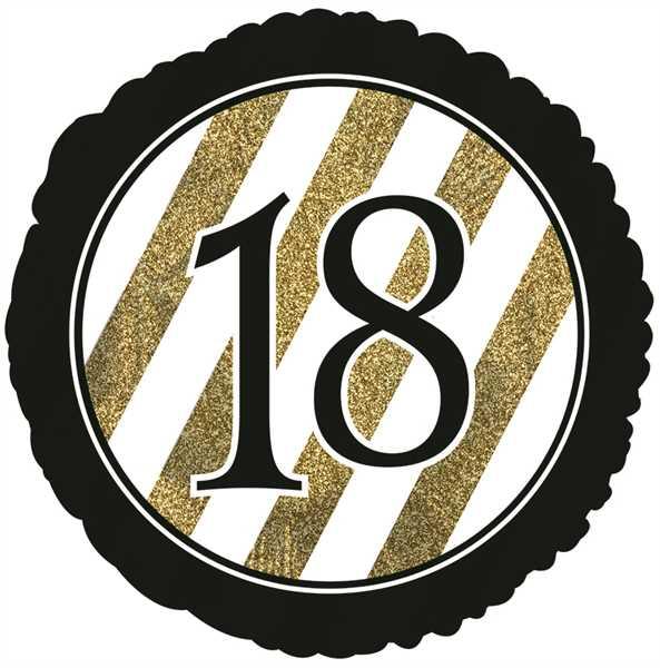 "CTI Folienballon 18"" Zahl 18 Schwarz & Gold Glitzer"
