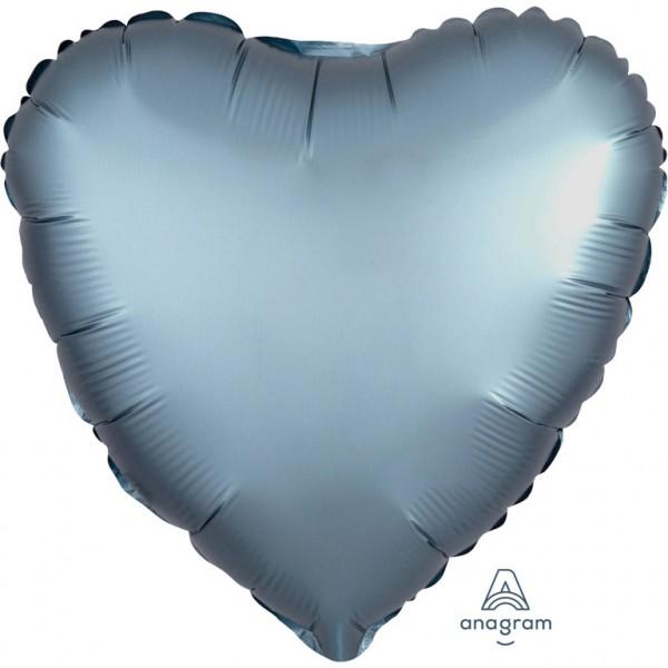 Anagram Folienballon Herz 45cm Durchmesser Satin Hellblau (Steel Blue)