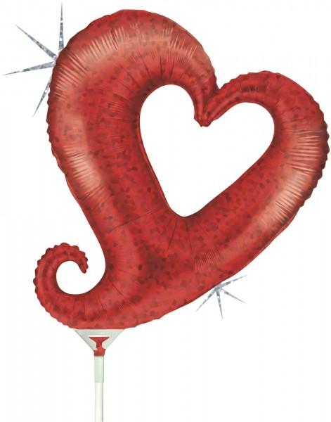 "Grabo Folienballon Chain of Hearts Red Holographic Mini 35cm/14"" luftgefüllt inkl. Stab"