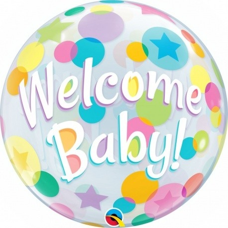 """Qualatex Bubbles Welcome Baby Colourful Dots 55cm/22"""""""