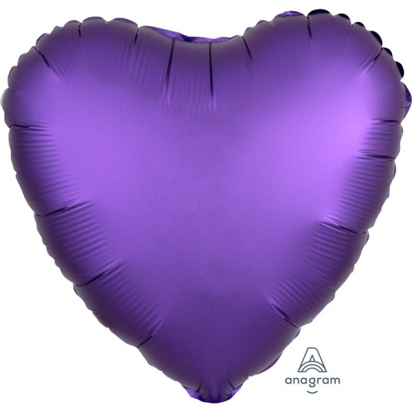 "Anagram Folienballon Herz Satin Lila Royal (Purple Royale) 45cm/18"""
