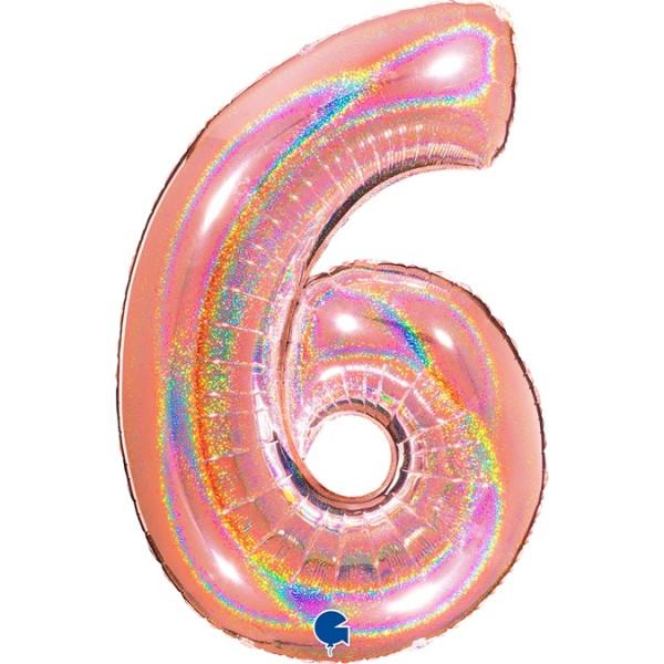 """Grabo Folienballon Zahl 6 Glitter Holographic Rose 100cm/40"""""""