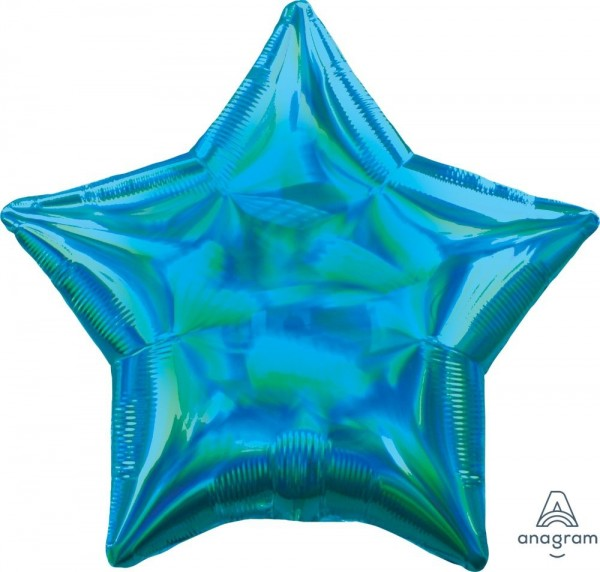 "Anagram Folienballon Stern Iridescent Cyan Holo 45cm/18"""