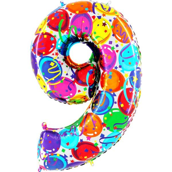 "Grabo Folienballon Zahl 9 Party 100cm/40"""