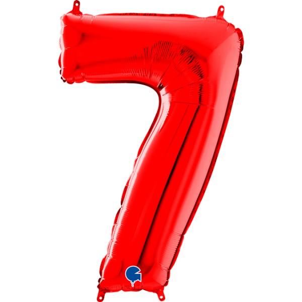 "Grabo Folienballon Zahl 7 Red 66cm/26"""