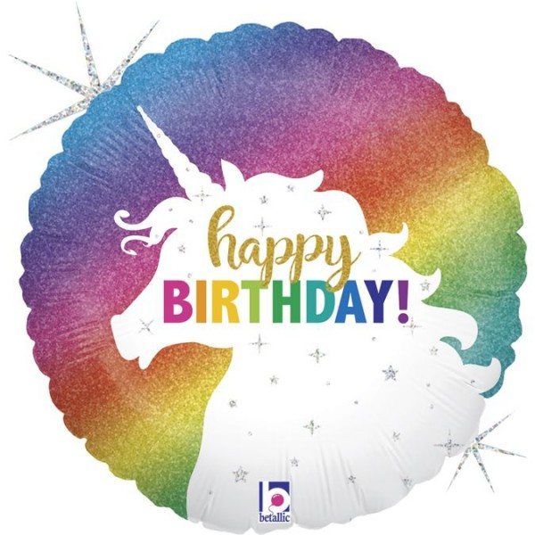 "Betallic Folienballon Glitter Unicon Birthday Holo 45cm/18"""