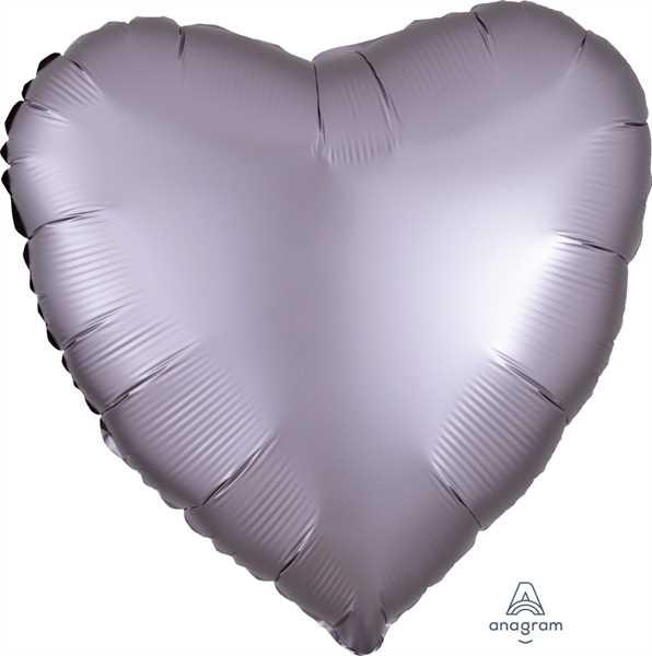 "Anagram Folienballon Herz Satin Luxe Hellgrau (Greige) 45cm/18"""