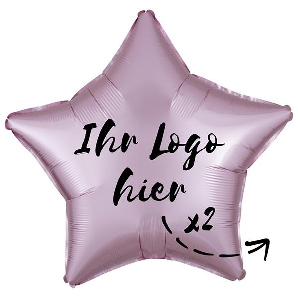 "Folien-Werbeballon Stern Satin Luxe Pastel Rose 50cm/20"" 2-Seitig bedruckt"