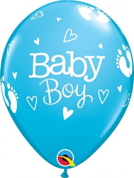 "Qualatex Latexballon Baby Boy Footprints & Hearts Blau 28cm/11"" 25 Stück"