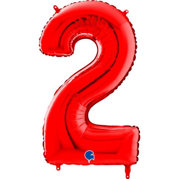 "Grabo Folienballon Zahl 2 Red 66cm/26"""