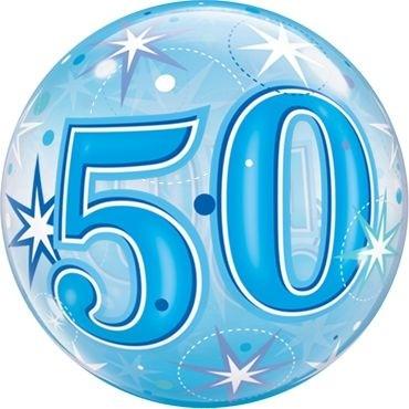 """Qualatex Bubbles 50 Blue Starburst Sparkle 55cm/22"""""""