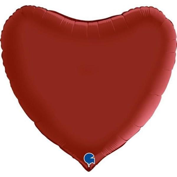"Grabo Folienballon Herz Satin Rubin Red 90cm/36"""