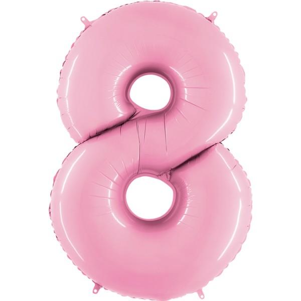 """Grabo Folienballon Zahl 8 Pastel Pink 100cm/40"""""""