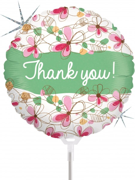 "Betallic Folienballon Floral Thank You Holographic 23cm/9"" luftgefüllt inkl. Stab"