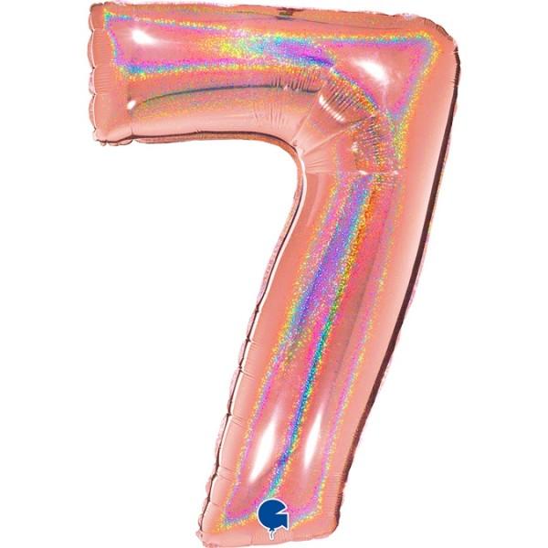 """Grabo Folienballon Zahl 7 Glitter Holographic Rose 100cm/40"""""""