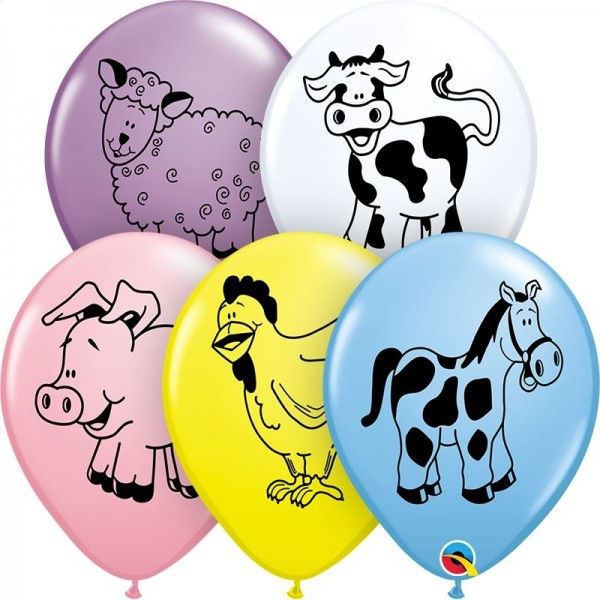 "Qualatex Latexballon Farm Animal Assortment 28cm/11"" 25 Stück"