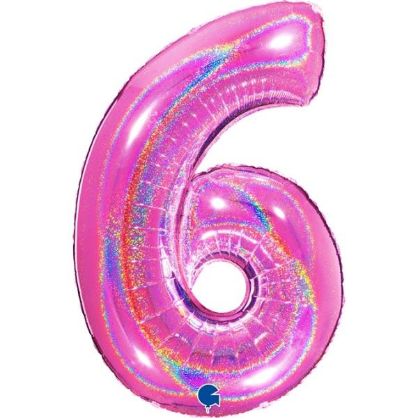 """Grabo Folienballon Zahl 6 Glitter Holographic Fuxia 100cm/40"""""""