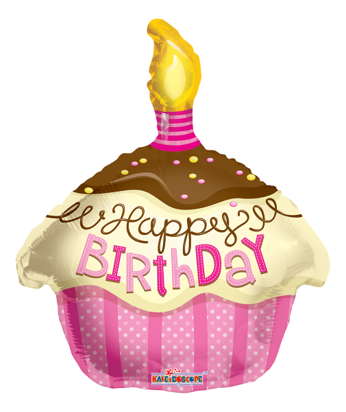 "Kaleidoscope Folienballon ""Happy Birthday - Pinker Cupcake"" 45cm/18"""