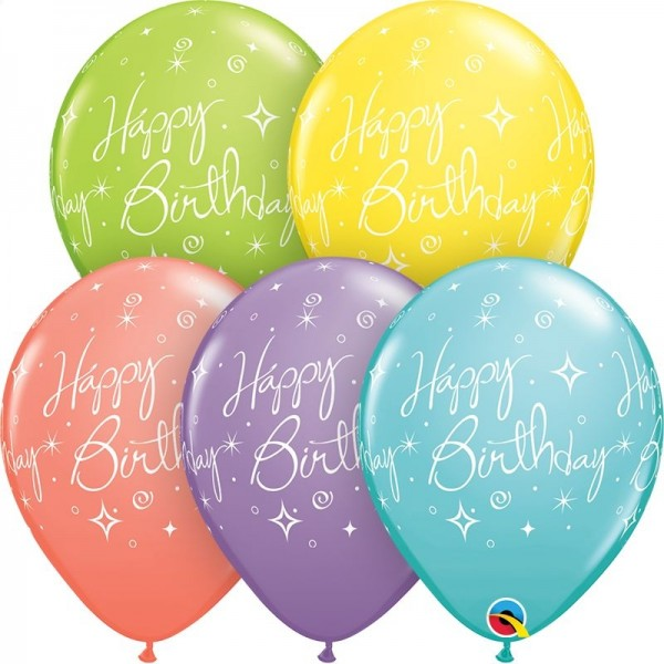 "Qualatex Latexballon Birthday Elegant Sparkles Swirls Sorbet Assortement 28cm/11"" 25 Stück"