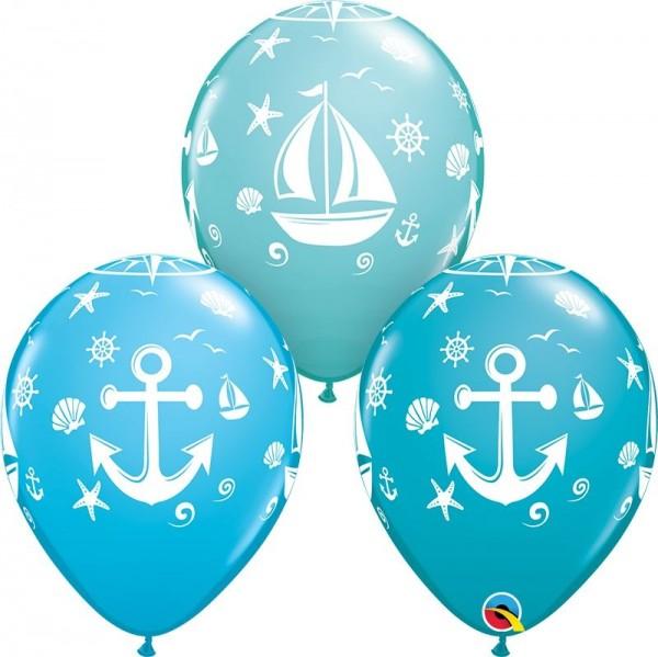 "Qualatex Latexballon Nautical Sailboat & Anchor Assortment 28cm/11"" 25 Stück"