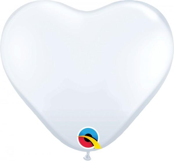 "Qualatex Latexballon Standard White Heart 28cm/11"" 100 Stück"