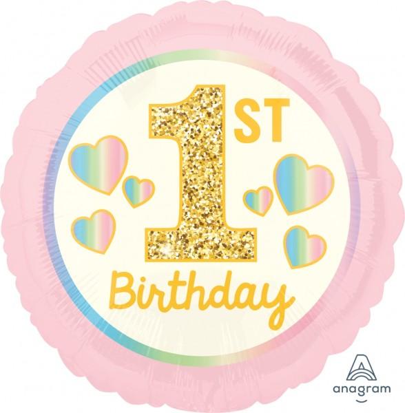 "Anagram Folienballon Girl ""1St. Birthday"" Pink & Gold 45cm/18"""