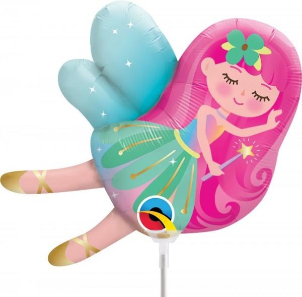 """Qualatex Folienballon Mini Fairy 35cm/14"""" luftgefüllt mit Stab"""